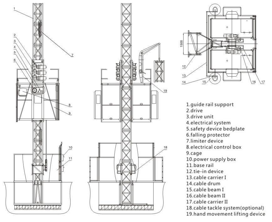 Construction Material Hoist Elevator 2*1ton SC100/100(id