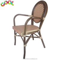 Antique Style Furniture Bamboo Look Woven Rattan Aluminum Cane Bistro Woven Stacking Cheap Wicker Rattan Chairs