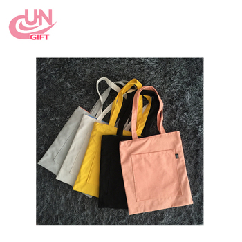 Canvas Environmental Protection Bags With Little Pocket For Shopping Supply Silk Printing Logo