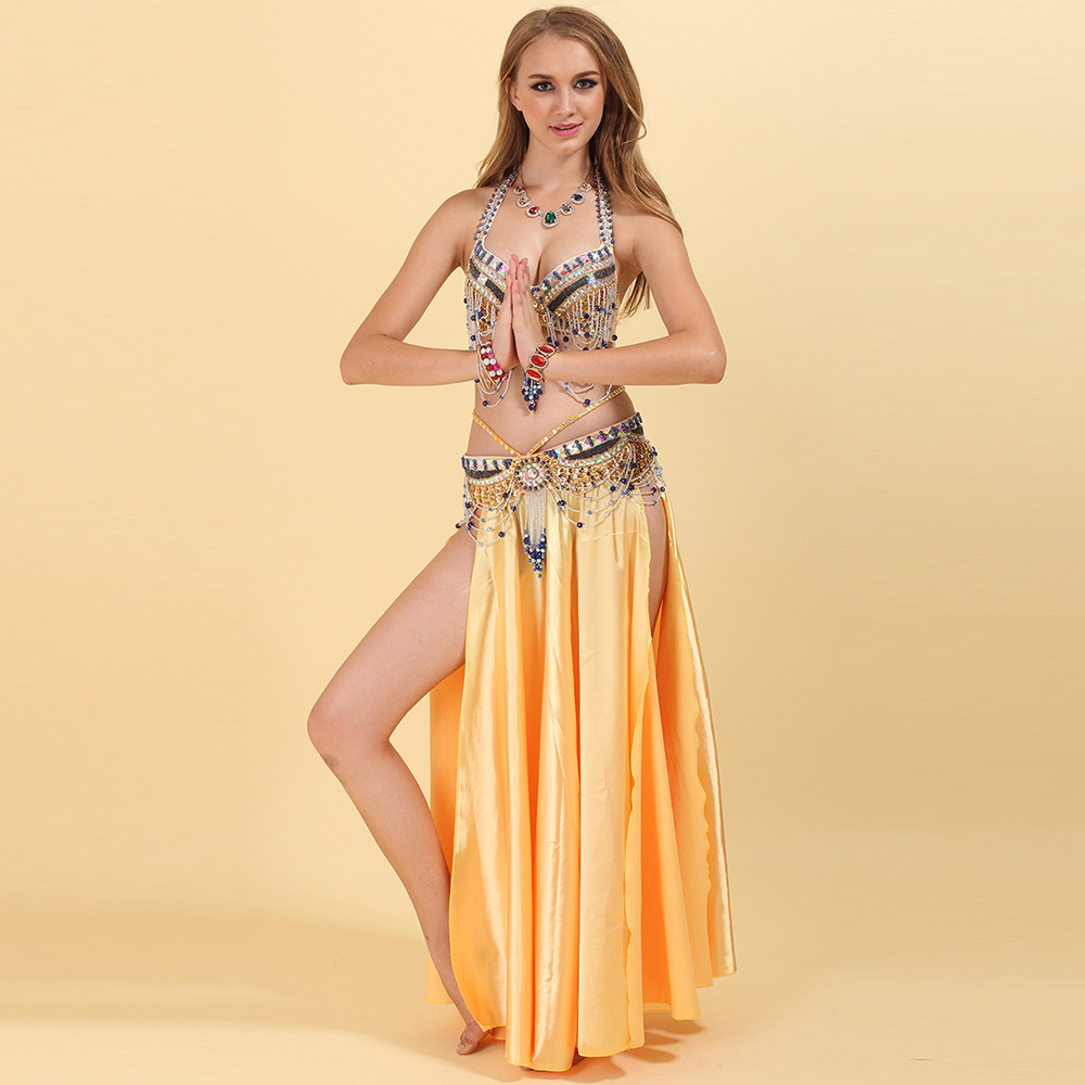 Elegant Sexy Woman Women Belly Dance Costume Indian Performance Bra Waist Belt For Ladies 2 Pieces Not Including Skirt
