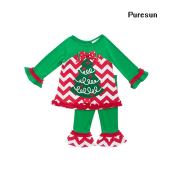 Christmas baby girls wear green and red boutique outfits kids chevron tree  tops and pants pajamas 460f39833