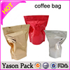 Yason heat sealable aluminum foil sachet/matt black coffee bag heat sealed coffee bags with side gusset and valve hot stamping
