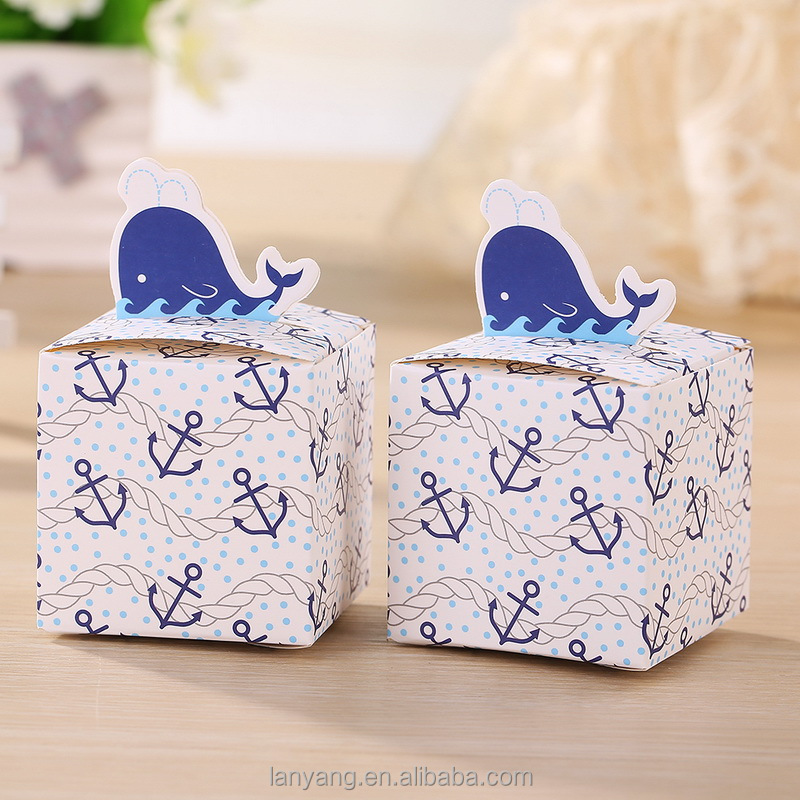 Free shiping New list Nautical Whale Favor candy boxes shower baby gift boxes