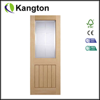 Engineered Half Light Oak Door Glazed With Frosted Bevelled Valencia Glass
