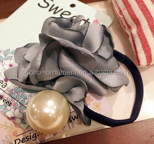 pearls flower textile elastic band hair tie hair accessoires for decoration