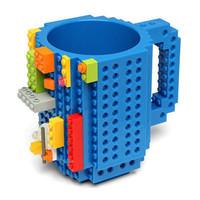 Drinkware Building Blocks Mugs DIY Block Puzzle Mug 12oz 1Piece Build-On Brick creative Mug Lego Type Coffee Cup Free Shipping