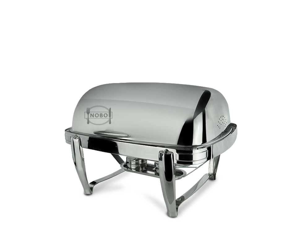 Full Size Luxury Chafer Stainless Steel Roll Top Chafing Dish with Foldable Stand