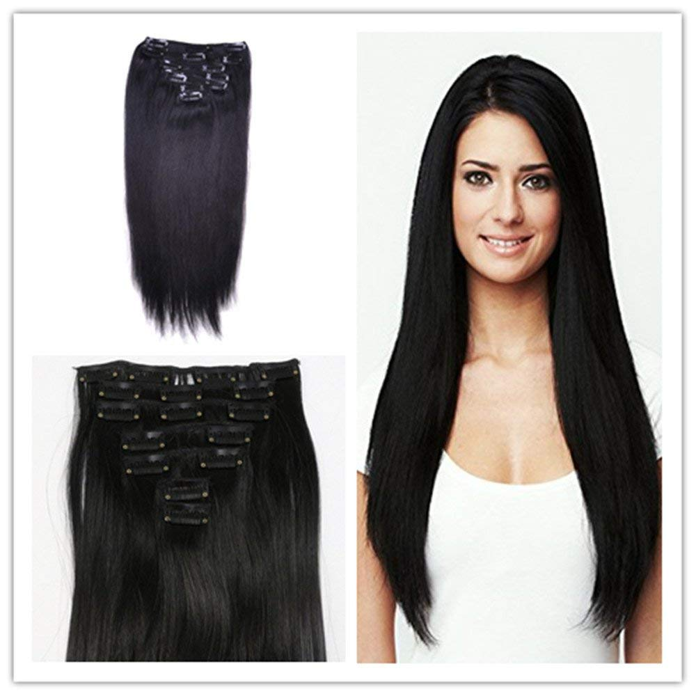 Clip in Hair Extensions Synthetic Hair Clip in Hair Extensions Jet Black 7 Pcs Silky Straight Hair for Women