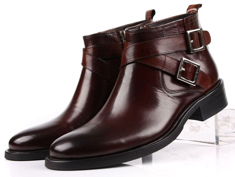 95a8b133239a5 Get Quotations · EUR 46 Large size fashion brand black/brown tan mens boots  double-buckle genuine