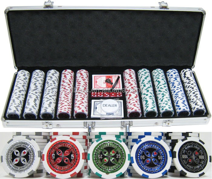 500 stks sticker poker chip set in zilver aluminium behuizing