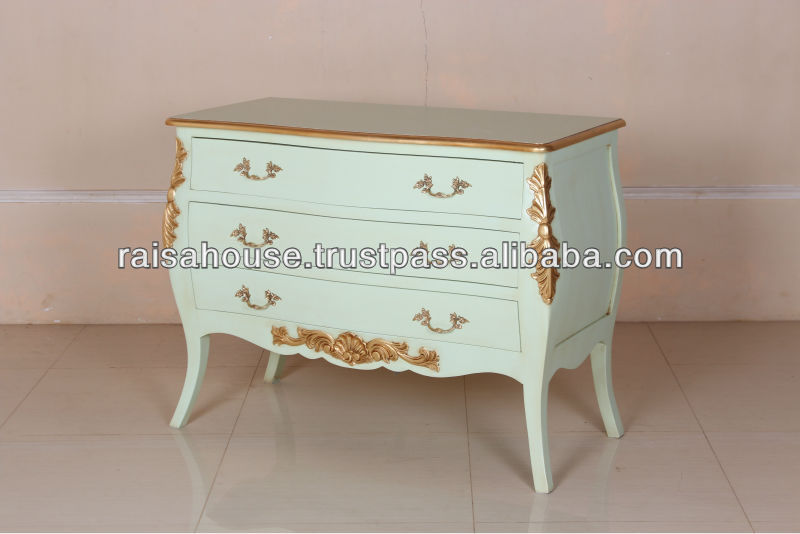 French Furniture - Bombe Antique French Chest