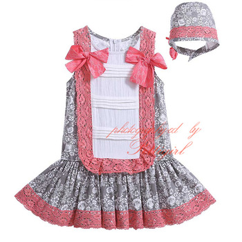 Lolita Style Baby Girl Dresses With Hairpin Cotton Sleeveless Inant Dress Patchwork Toddler wear G-DMGD905-791