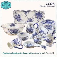 Luxury Crockery Pretty Flora China Diner Blue And White Tableware
