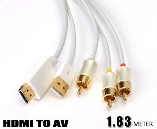 HDMI to 3RCA Cable Special Design for Small Screen, Car Screen 720P