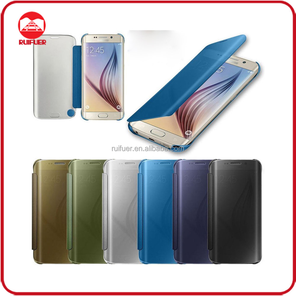 2016 New Arrive Luxury Plating Touch Sensitive Clear View Smart Flip Mirror Case for Samsung Galaxy S7 Edge
