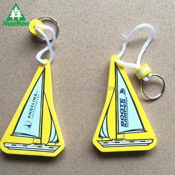 Promotional Customized Logo Eva Foam Floating Boat Keychain No Minimum
