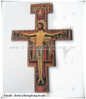 Plywood San Damiano wooden wall crucifix, religious cross with orthodox icon and hook