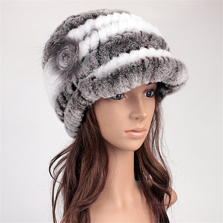 5ed6d33a32d Get Quotations · Roniky Womens Rex Rabbit Fur Peaked Caps Winter Fur Hats  Multicolor