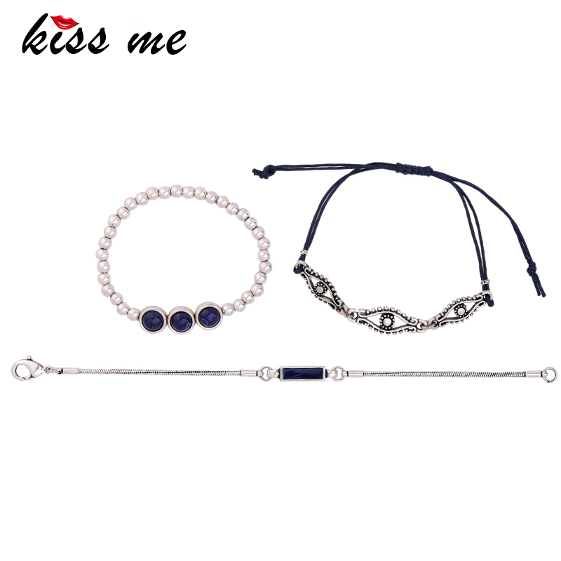 Europe and the United States new diamond cute beaded thick chain bracelet set