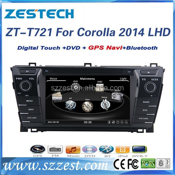 ZESTECH Factory CE certification and 7'' 2 din car dvd for <strong>TOYOTA</strong> <strong>COROLLA</strong> 2014 with GPS+BT+Canbus+MAP+Rearview Camera+Radio+3G