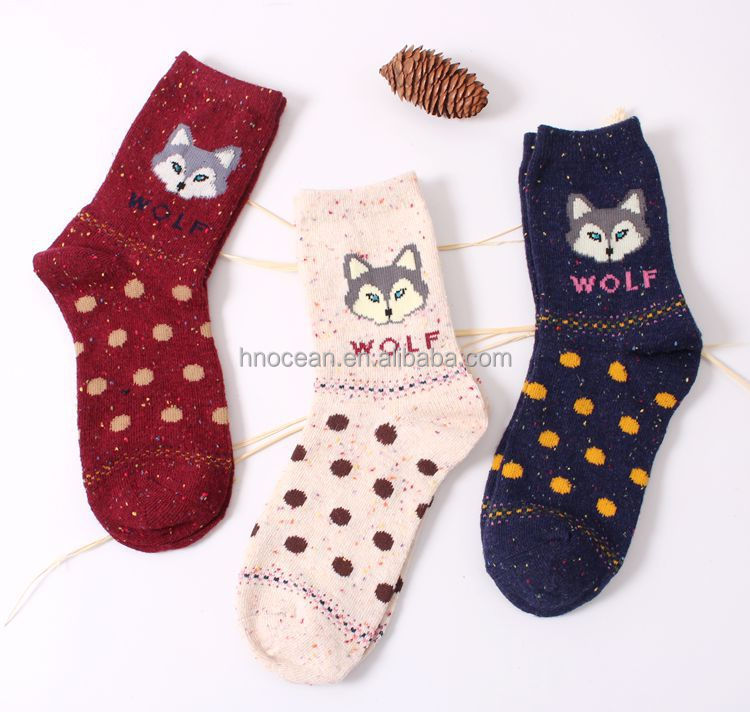 Women Vintage Brand Animals Patterns Cute Cartoon Fox Wolf Warm Cotton Socks