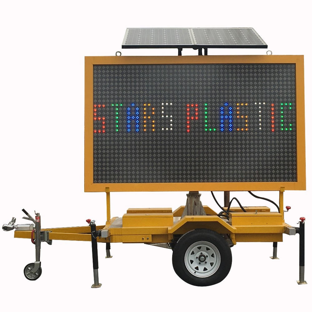 Mobile Informative LED Solar Traffic Warning Signs Trailer Mounted VMS