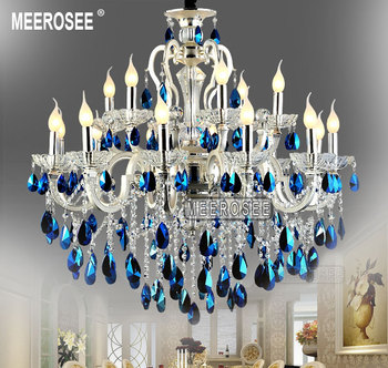 Meerosee Large Blue Crystal Chandelier Er Light Silver Fixture Md8453 Chandeliers