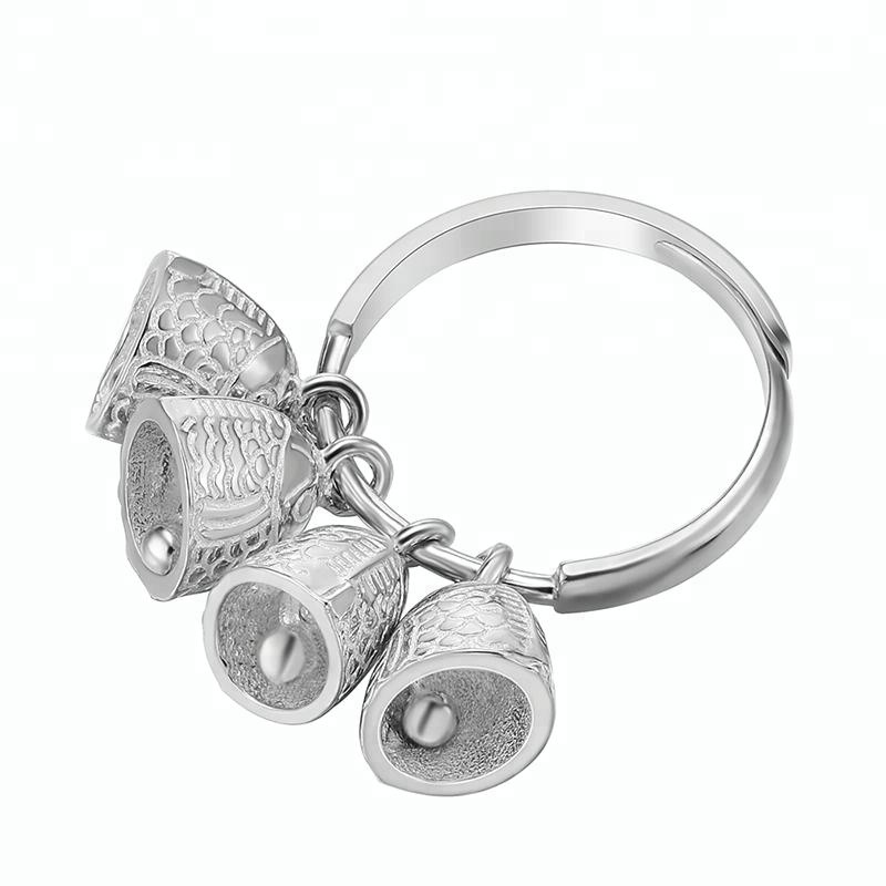 Vintage Fish Bell silver ring designs for girl