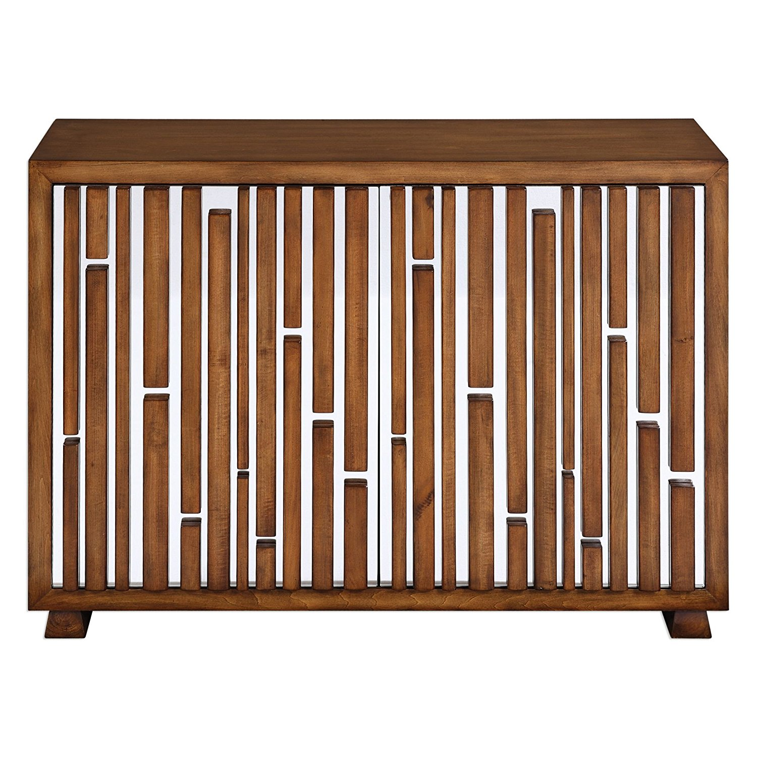 Get Quotations · Retro Mid Century Modern Mirrored Console Cabinet |  Geometric Wood Art Deco 1950s Style