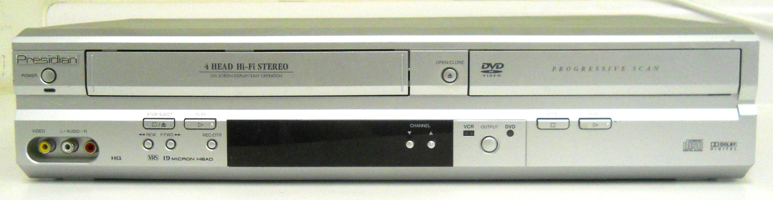 Presidian PDC-3286 DVD Player Video Cassette Recorder Player DVD/VCR Combo w/ 4 Head & Progressive Scan