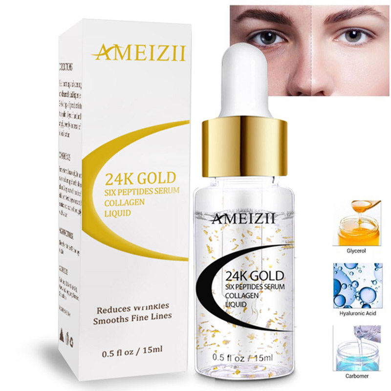 AMEIZII 24 K Or Sérum Acide Hyaluronique Six Peptides de Collagène Anti-Âge Sérum Ampoules 24 k sérum