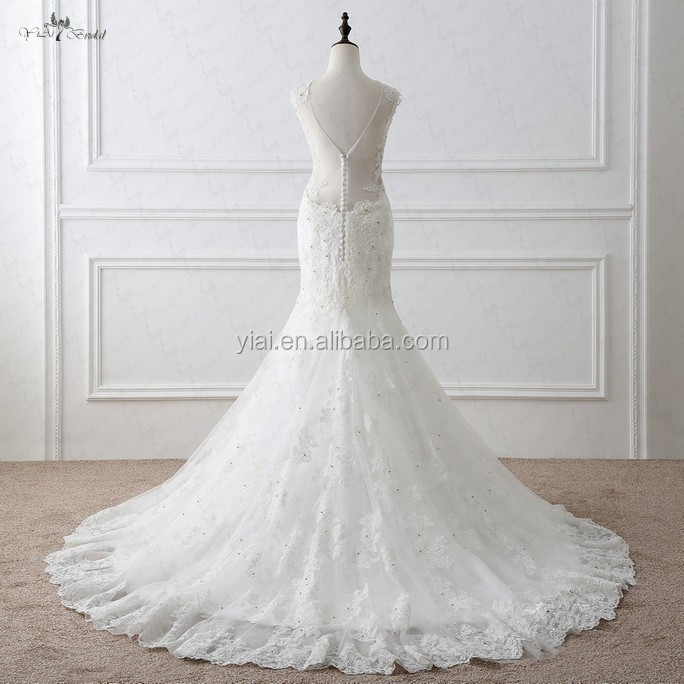 RSW1048 Sleeveless Sweetheart Neckline V Sheer Tulle Back Lace Mermaid Alibaba Wedding Dress