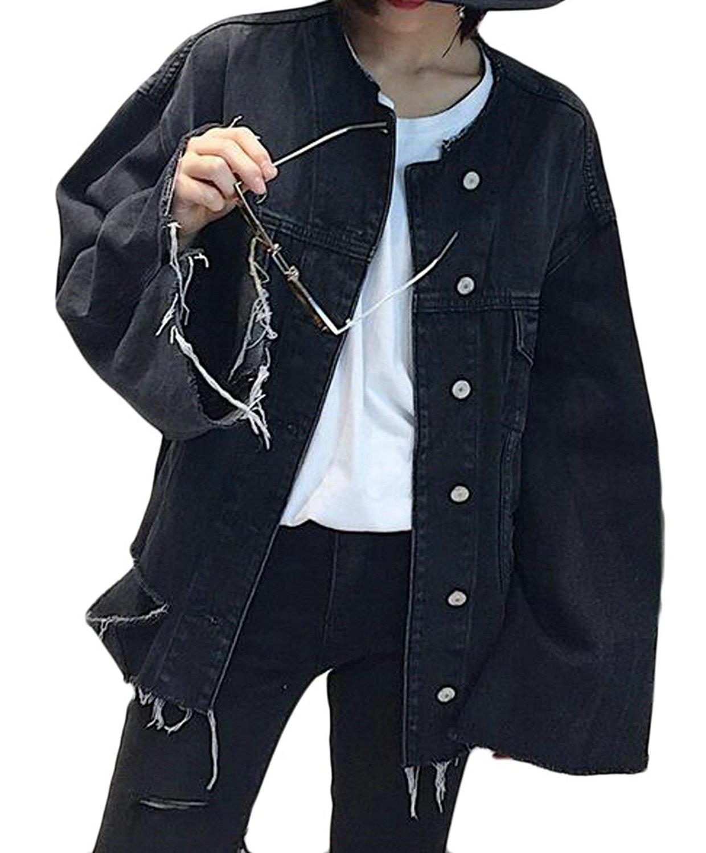 Zago Women's Loose Washed Hole Ripped Classic Denim Jackets Coats