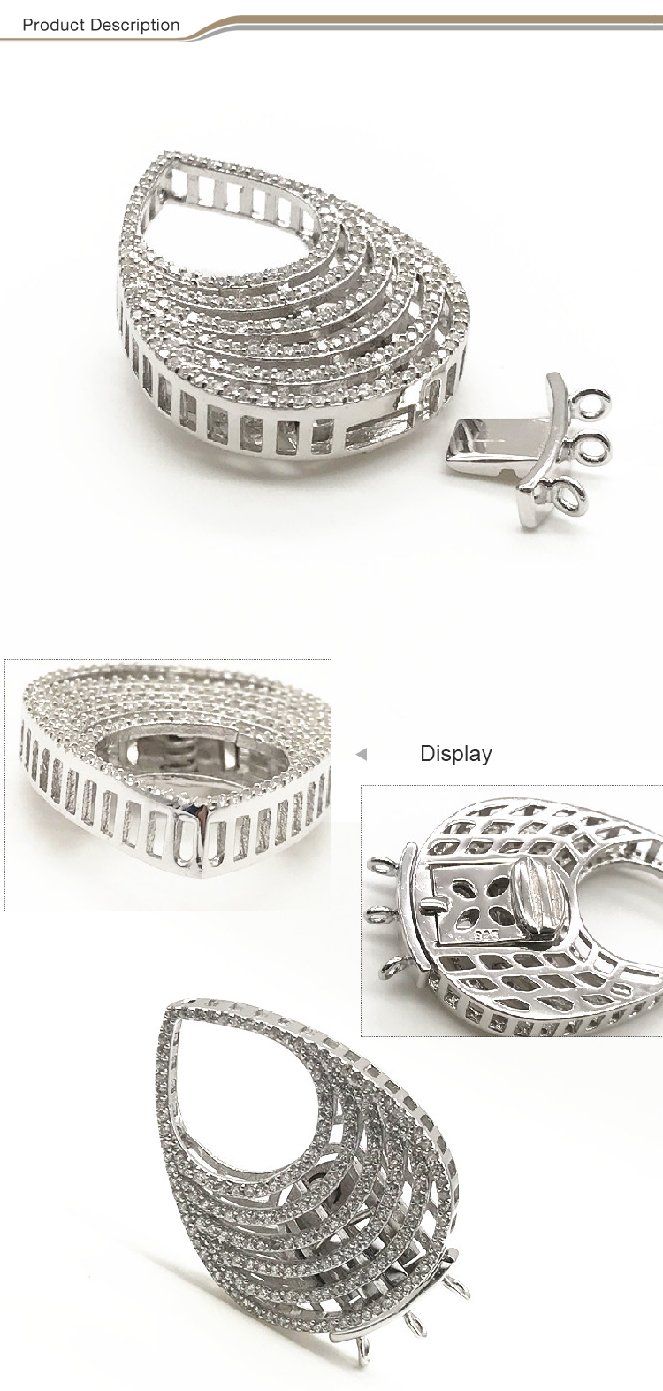 Hot selling 925 Sterling Silver Necklace clasp Jewelry connector clasp locket for making Jewelry necklace