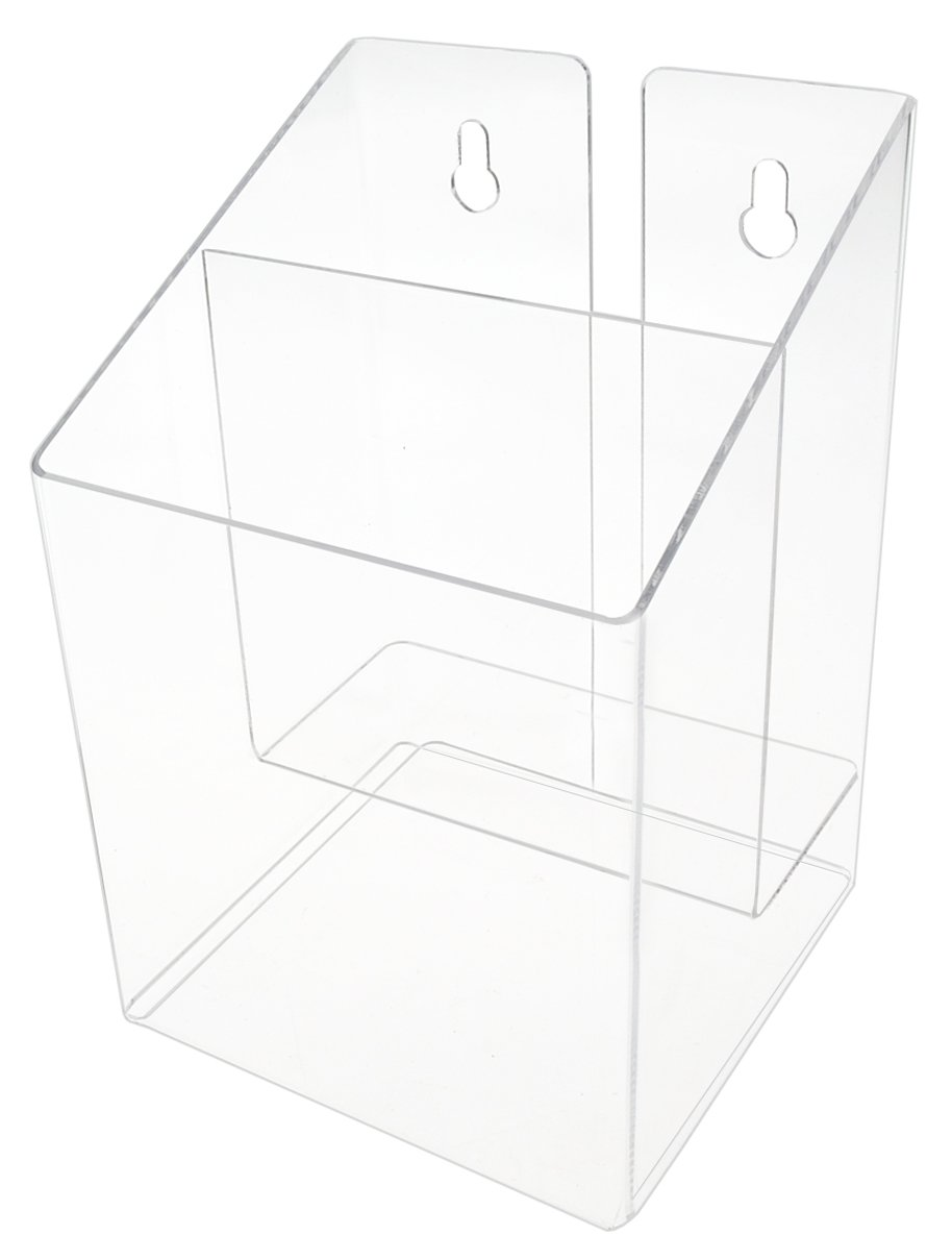 Marketing Holders Clear Acrylic 2 Pocket, Tiered Brochure Holder for 5.5 Inch Wide Literature, Brochures, Booklets and Catalogs, Wall Mount or Countertop (1)