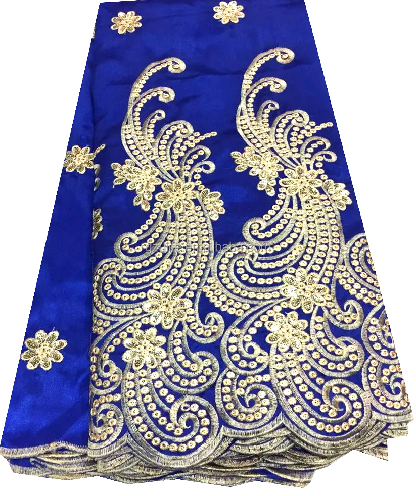 Royal blue african george fabric from india,raw silk george wrappers for african party(G1050)