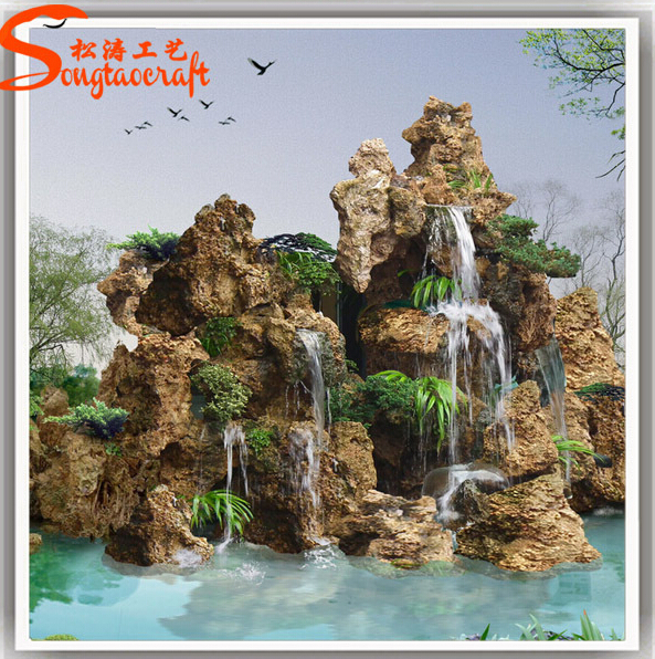 artificial indoor decorative waterfall customized size fiberglass rock  waterfall