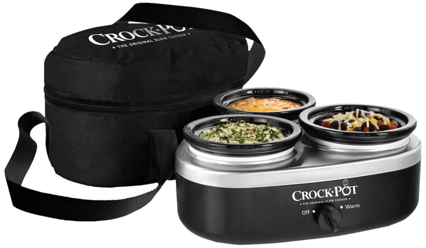 Crock-pot Scrmtd307-dk 16-ounce Little Triple Dipper; Silver And Black; New