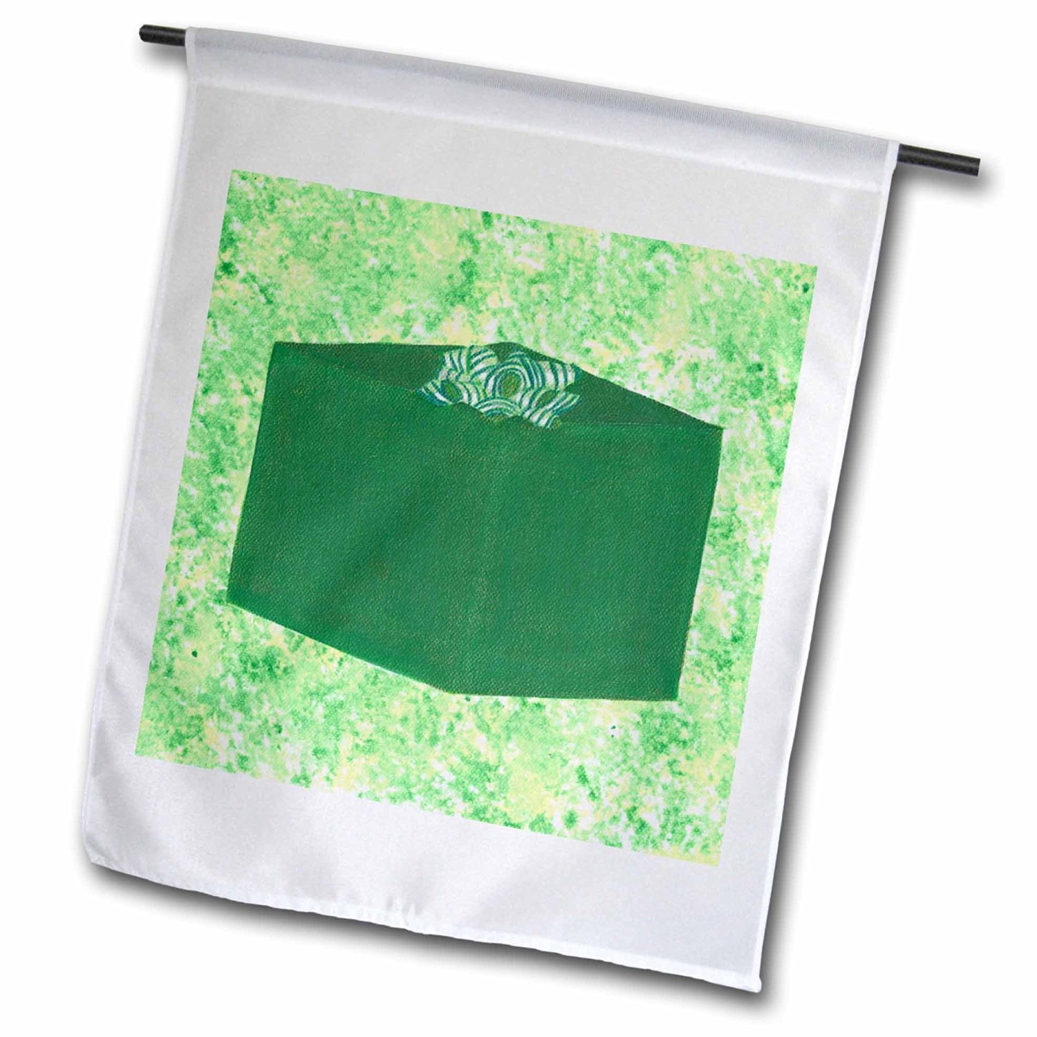 CherylsArt Holidays Christmas - Painting of green present with striped bow on yellow green background - 18 x 27 inch Garden Flag (fl_185450_2)