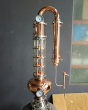 30L 50L 100L 200L Copper Distillation Equipment Moonshine Distiller Distillery With Glass Column Whiskey helmet