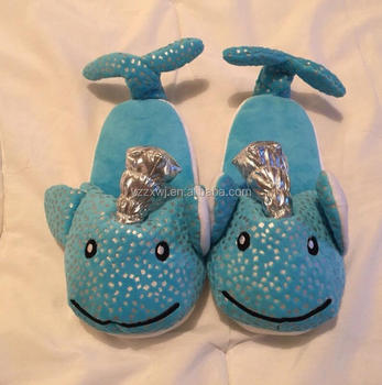 87e18b86f NARWHAL SLIPPERS Bright Blue Soft Plush Whale Unicorn blue slippers cute  whale warm slippers for girl