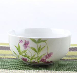 Gold plated bowl set ceramic round rice bowl for sale