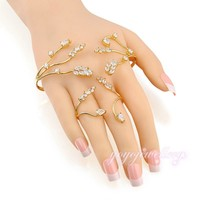 Fashion yellow gold plated crystal double palm cuffs bracelet