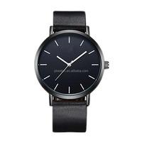 Unisex Mens Womens Waterproof Simple Quartz Black Leather Strap Custom Wrist Watch