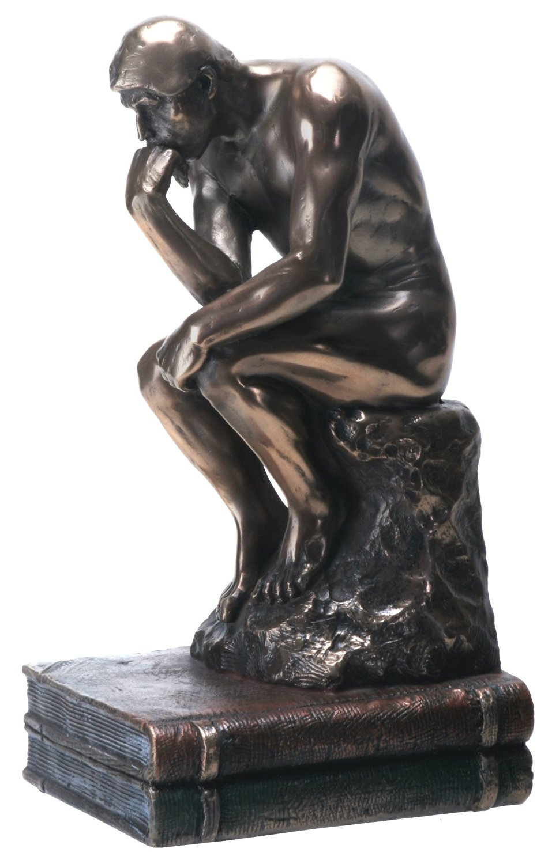 7.75 Inch The Thinker Nude Male Statue Figurine, Bronze Colored