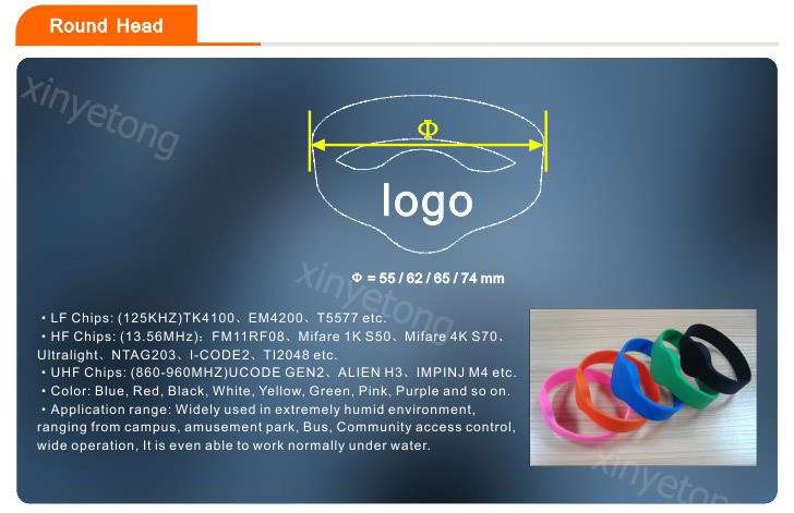 13.56MHz chip F08 1Kbytes silicone wristband with cheap price