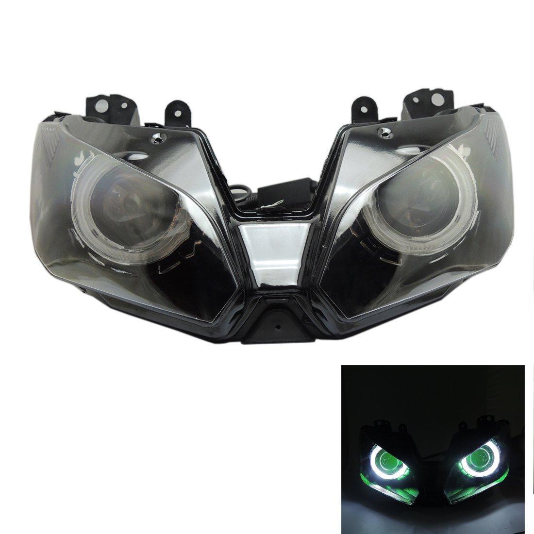 zx-6r Headlight Assembly Angel Eye HID Projector Custom for Kawasaki NINJA 250 300 EX250L EX300 2013- 2015
