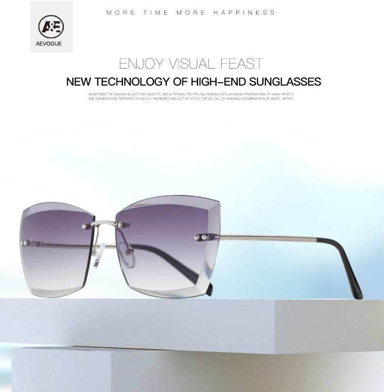 07a64fedd76 Wholesale-AEVOGUE Sunglasses For Women Square Rimless Diamond ...