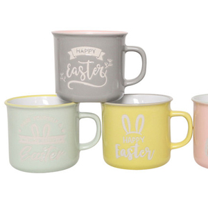 HG86-247 high quality emaille tasse promotional ceramic cup for easter goods 10OZ printed custom enamel mug with Easter decal