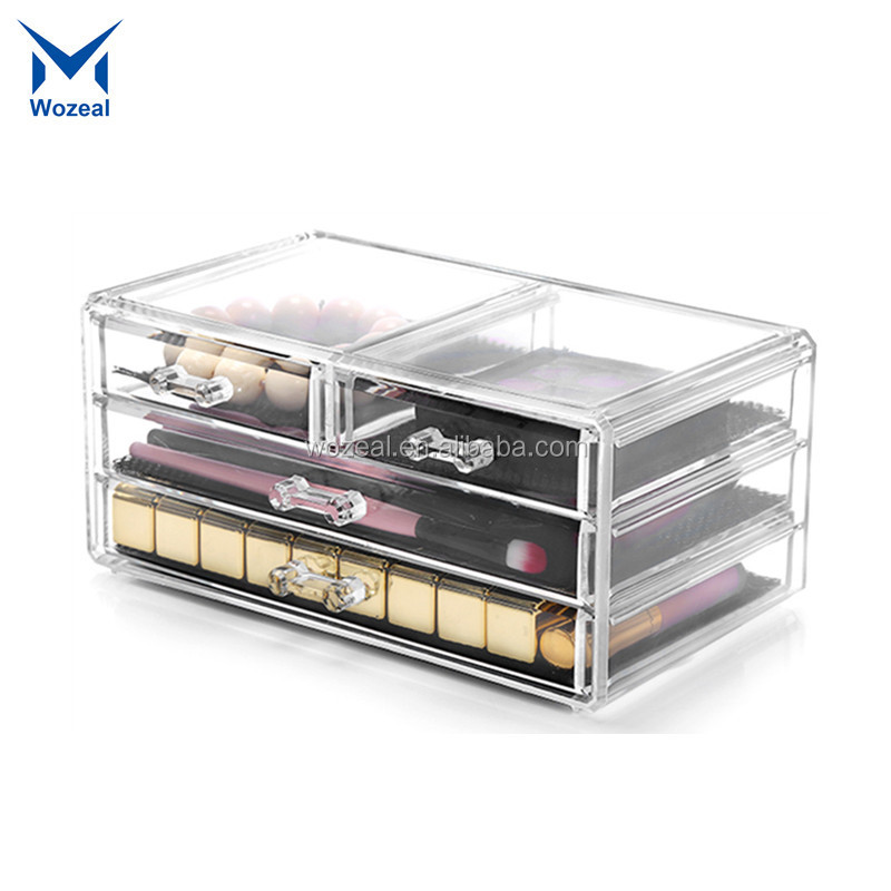 Hot Sell Makeup Cosmetics Jewelry Organizer Clear Acrylic 4 Drawers